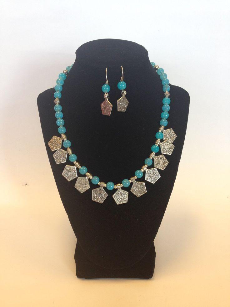 German Jewelry, Oxidized Indian Necklace - Silver & Blue