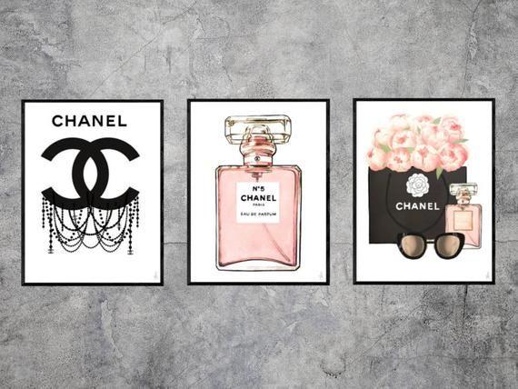 Set Of 3 Chanel Illustrations Fashion Illustration Fashion Wall Art Fashion Sketch Fashion Print Chanel Wall Art Chanel Room Fashion Wall Art