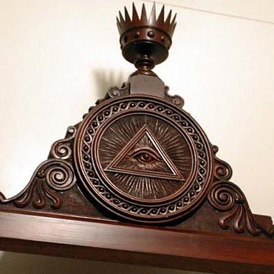 illuminati Symbols of Catholicism | Masonic triangle and Horus eye in a Catholic church