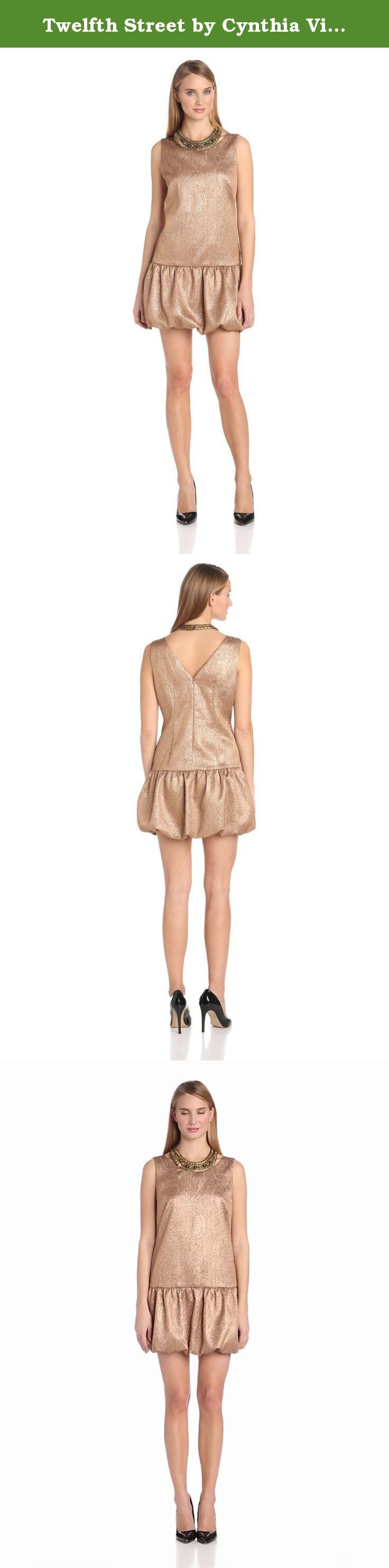 Twelfth Street by Cynthia Vincent Women's Embellished Drop Waist Dress, Gold, Large. Drop waist jacquard dress with embellished neckline.