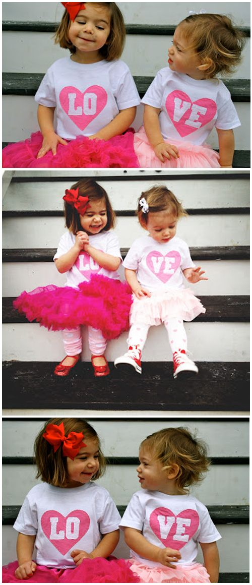 "There are only a few precious years when matching outfits are deemed ""cute"" versus ""kooky,"" so enjoy them while you can! This Valentine's Day duo of big and little sister inspires fun sibling holiday outfits. Bonus points: bribe your little ones with some chocolate to distract them while you snap a few candid photos."