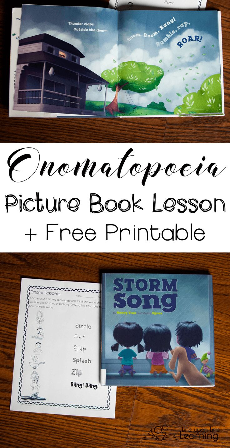 Start with a picture book and use that as a guide to learn about onomatopoeia. Lesson ideas and free printable.