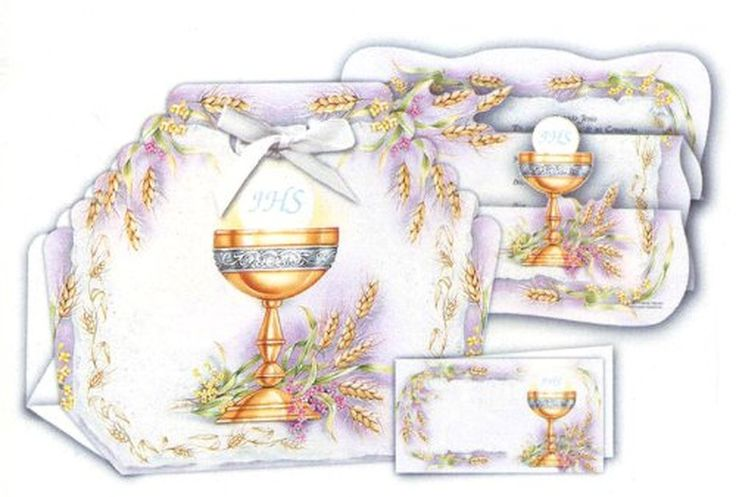 12 First Communion Bomboneiras, Thank You Cards, and Invitations with Envelopes, in Spanish (Made in Italy)