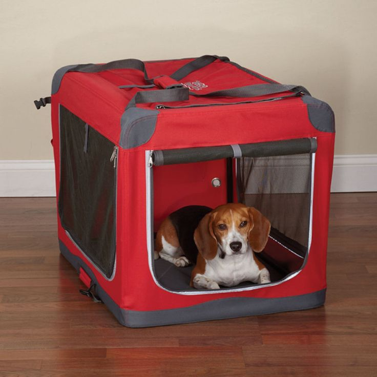 Guardian Gear HEAVY DUTY Collapsible Soft Sided Portable Dog Crate Cage*MED*RED #GUARDIANGEAR