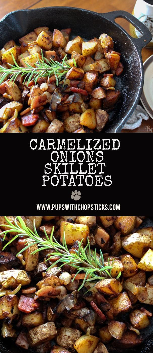 Skillet potatoes crisped up with sweet caramelized onions and garlic