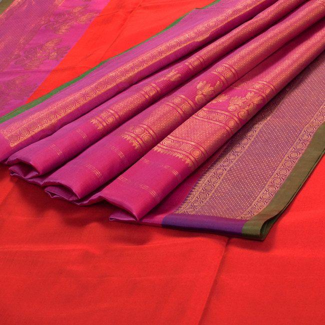 Venkie Reddy Venetian Red Handwoven Gadwal Silk Saree with Zari Border 10002141 - profile - AVISHYA.COM