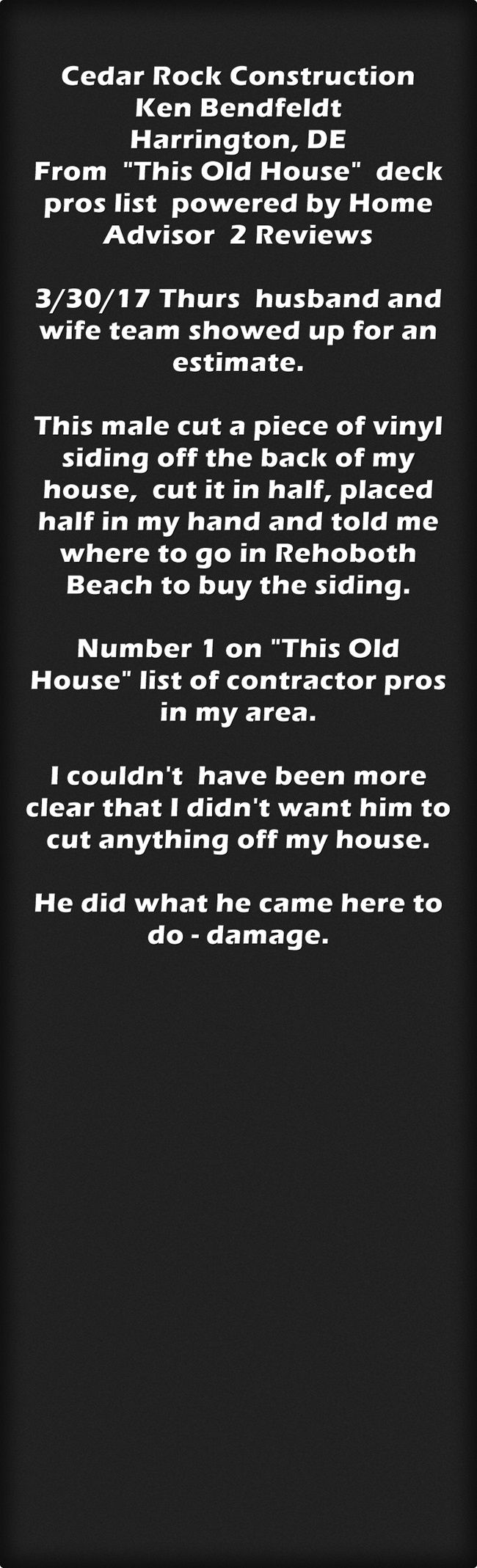 Cedar Rock Construction Ken Bendfeldt Harrington, De From This Old House  Deck Pros List Powered