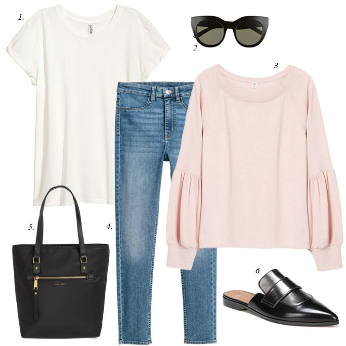 how to create a capsule wardrobe collection from your closet, shop your closet for one week of outfits, pink sweatshirt, women casual fashion outfits, spring, winter, sahm, travel outfit