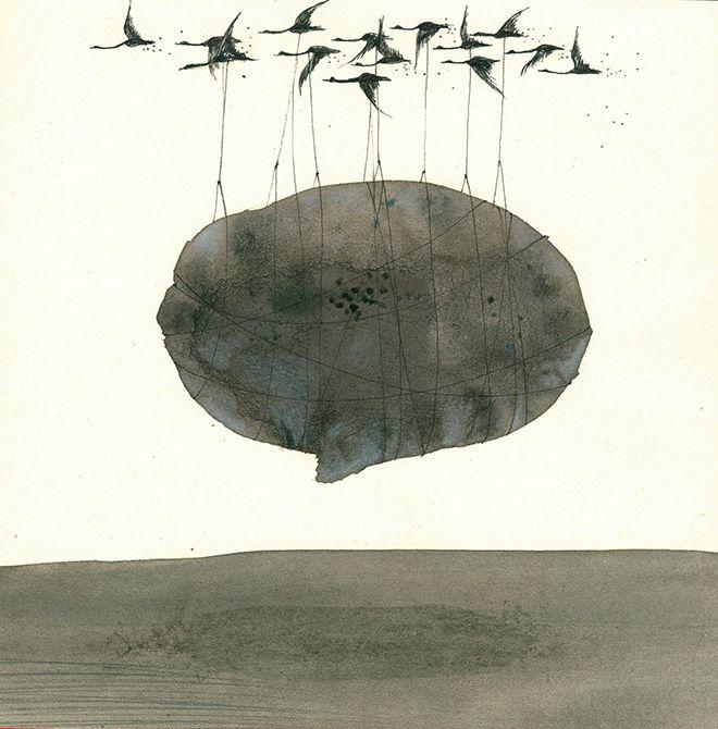 Denis Riva - Trasporto eccezionale, 2013, china e lievito madre su carta - cm 20x20.