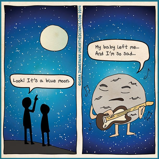 Pun astronomy comic and science humor about blue moons by ...