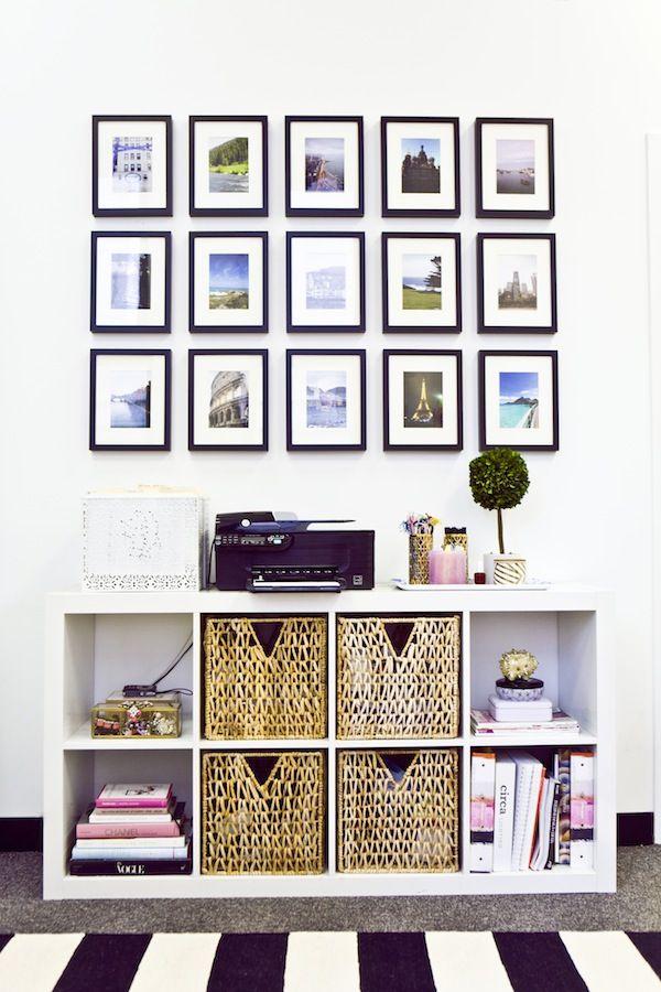 Great storage solution.  Love the framed arrangement.