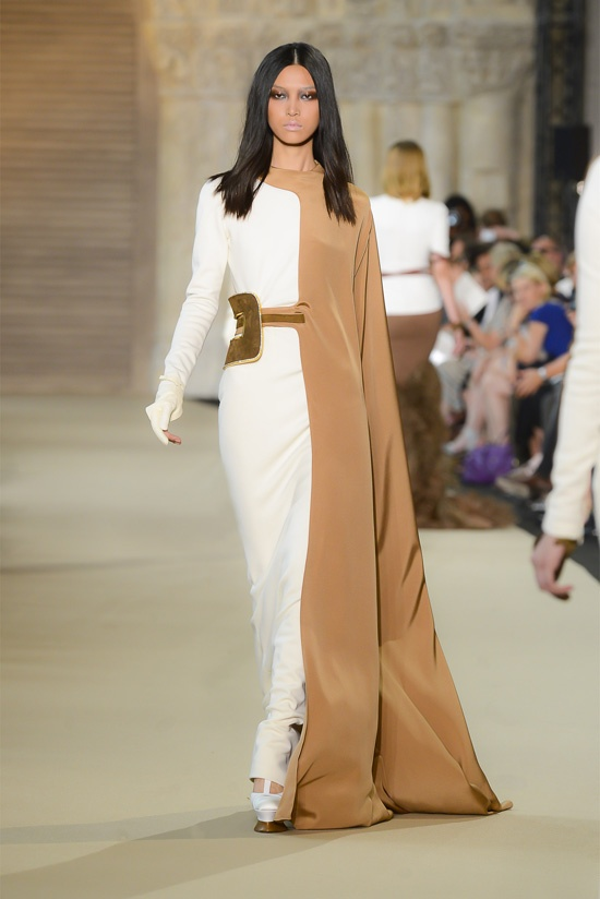 Stephane Rolland beige ivory white gold gown with half cape 70s retro ... vintage style