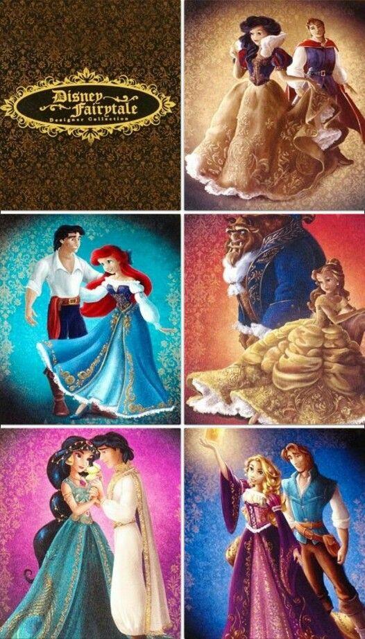 Blanche-Neige et son prince, Ariel et son prince, Belle et la Bête, Jasmine et Aladdin, Raiponce et Eugène.