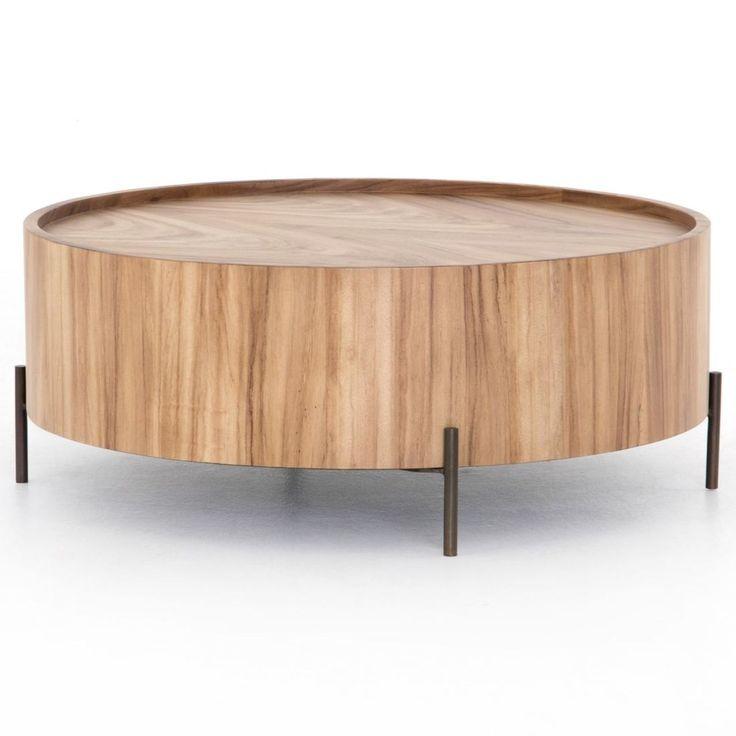 Lunas natural wood drum coffee table 40 in 2021 drum