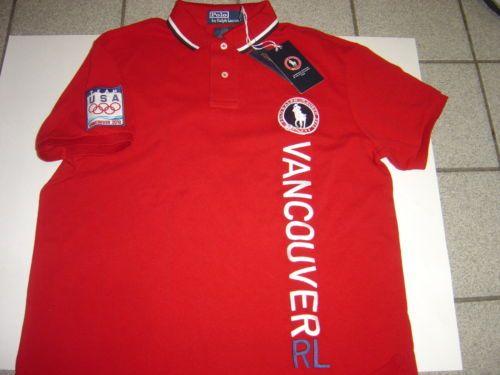 "Mens Ralph Lauren Red Vancouver 2010 Olympics S/s ""custom Polo Shirt Size L | eBay"