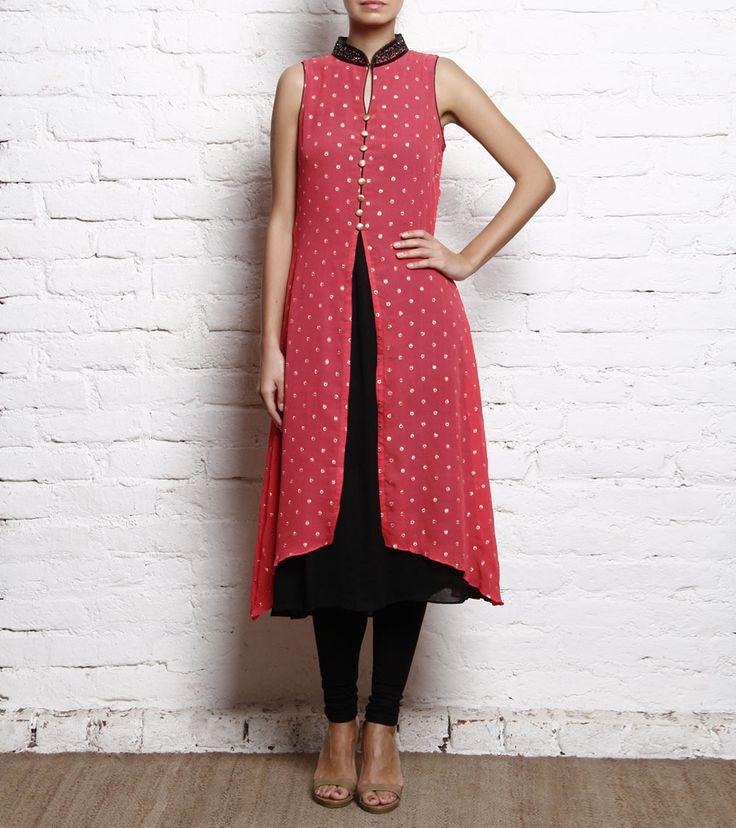 #RedChiffon Embroidered #Kurti With Black #Churidar