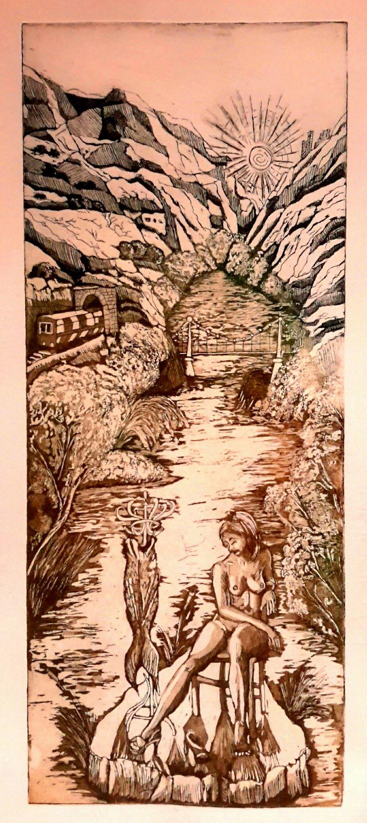"""Tembi Valley"", etching aquatint, monoprint, 40×16,3cm"