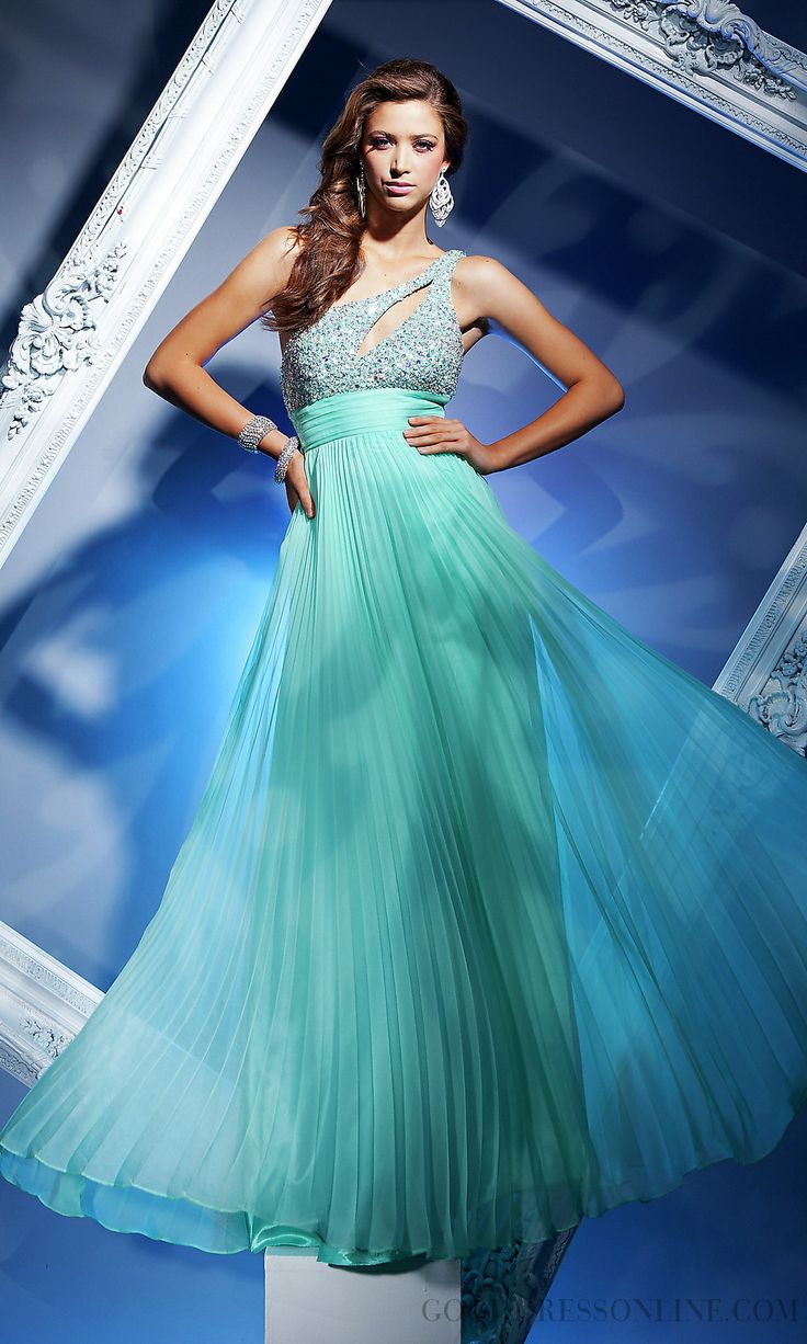 2015 Lovely A-line One Shoulder Beading Chiffon Evening Dresses