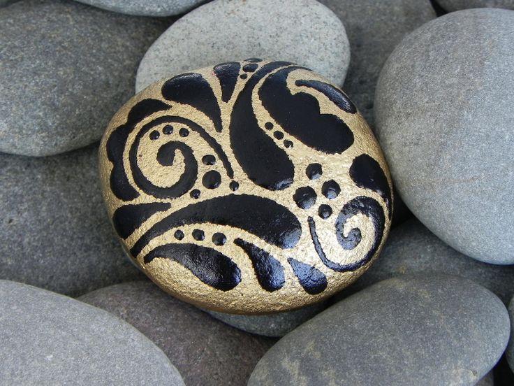 Golden Talisman /Painted Rock / Sandi Pike Foundas/ Cape Cod. $25.00, via Etsy.