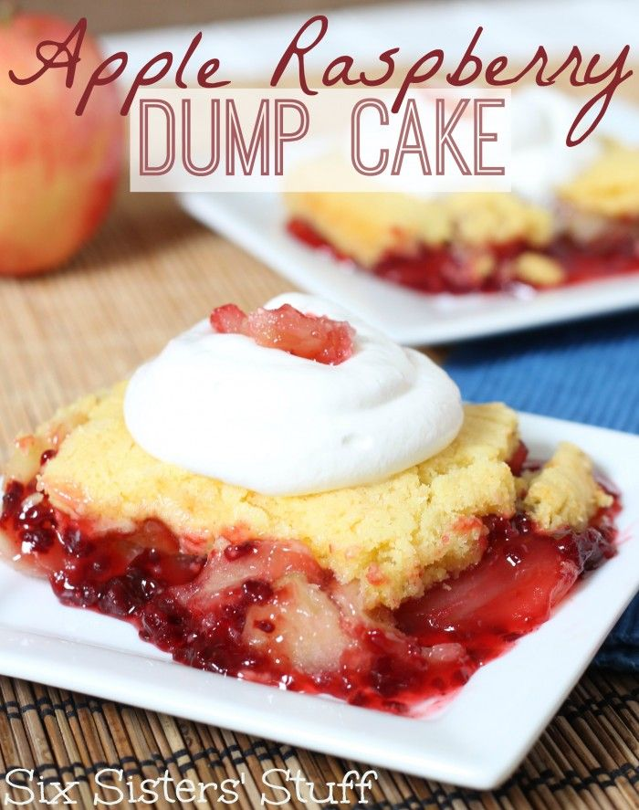 Apple Raspberry Dump Cake. So easy and so good! www.sixsistersstuff.com