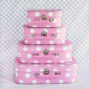 Pink polka dot cases: Hats Boxes, Polka Dots, Parties Supplies, Paper Suitcas, Party Supplies, Paper Parties, Dots Suitcases, Pink Polka, Minis Suitcas