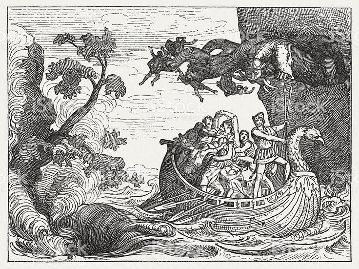 Ulisse e Scilla e mitologia greca, legno inciso, avvalendosi del 1880 illustrazione royalty-free