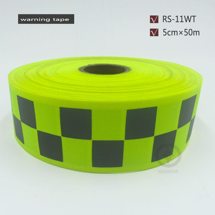 50mm x 50 m żółty Fluorescencyjny Tkaniny Taśma Odblaskowa Szyć Na odzieży ochronnej