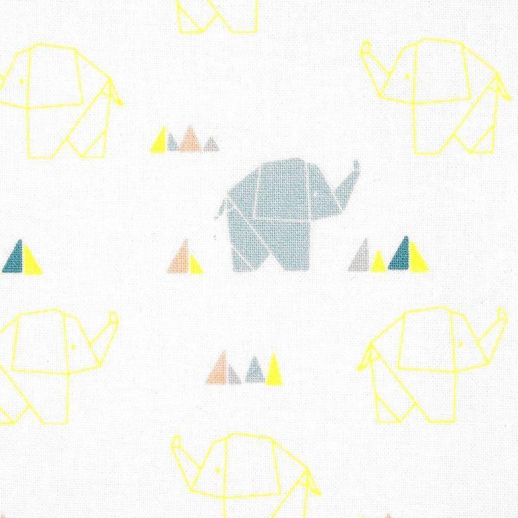 Tissu coton éléphant origami bleu et fluo   - Mondial Tissus