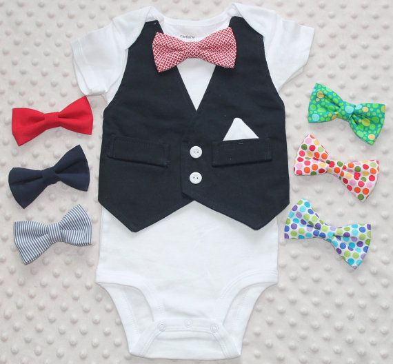 Your little man will steal the show in this cute and trendy outfit! Perfect for weddings, photo sessions, special occasion or birthday. The outfit can be paired with jeans, casual pants, bloomers or worn alone. The vest attached is attached to the sides and top of bodysuit and is