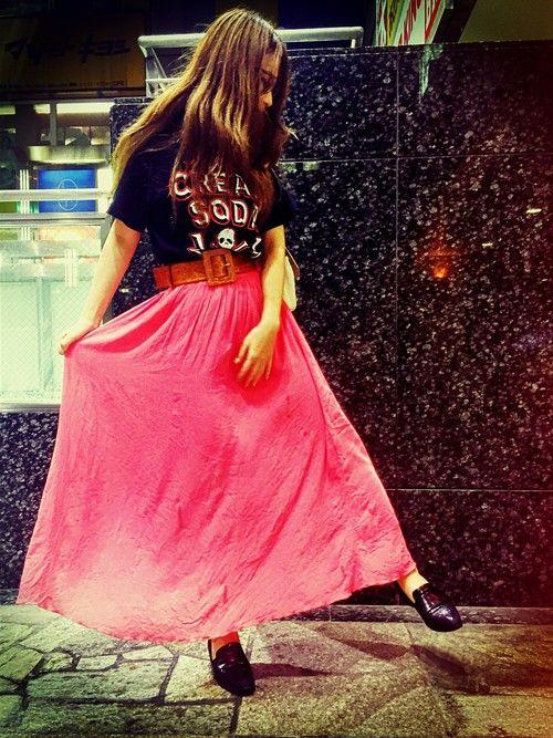 映画を観に行ったので、サブカルっ子をテーマにしてみたよ★ メンズTシャツ&スカート、メガネ&革靴のあ