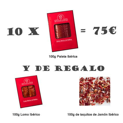 Una oferta estupenda para este verano: 10 sobres de paleta iberica de 100g por 75€. y de regalo 100g de Lomo Iberico y 100g de taquitos de jamón iberico