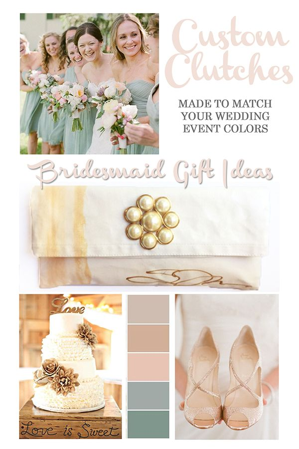 These hand-painted clutches are the perfect gift idea for the bridal party. Custom clutches designed to match your wedding colors! Clutches designed by Susan Tancer Studios [#mintblushwedding #bridesmaidgifts #bridalgifts #bridegift #customgifts #blushmintgold]