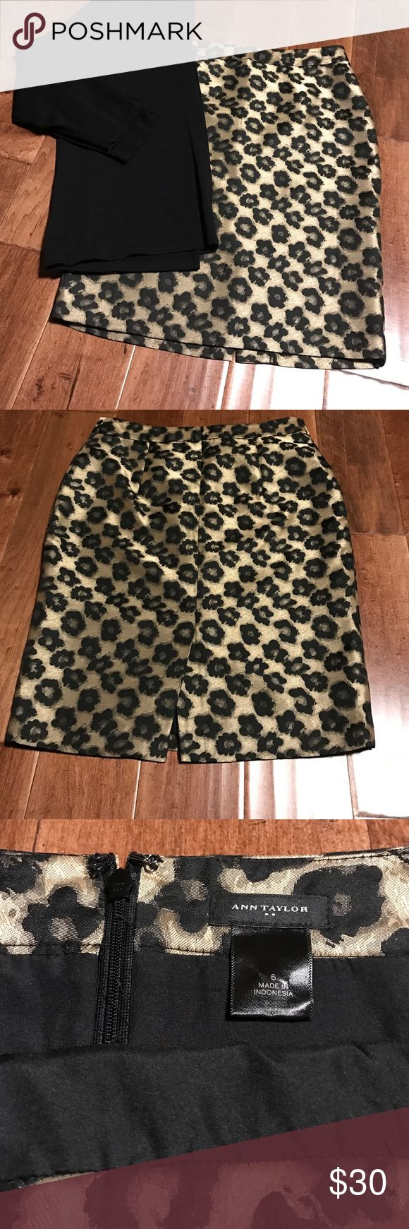 """HP💞Ann Taylor 🐆 Cheetah Skirt Ann Taylor, size 6. Perfect condition, appx knee length @ 22"""". Waist measures appx 15"""" laid flat. Material has a somewhat shiny sheen to it. Has zipper in back and a 6"""" slit. Looks great with the black semi-sheer Ann Klein top I have in another listing because the materials are very similar. Ann Taylor Skirts Midi"""
