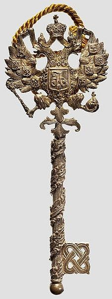 queen-yetta-rosenberg: A Russian chamberlain key from the reign of Tsar Alexander III (1881 - 1894).