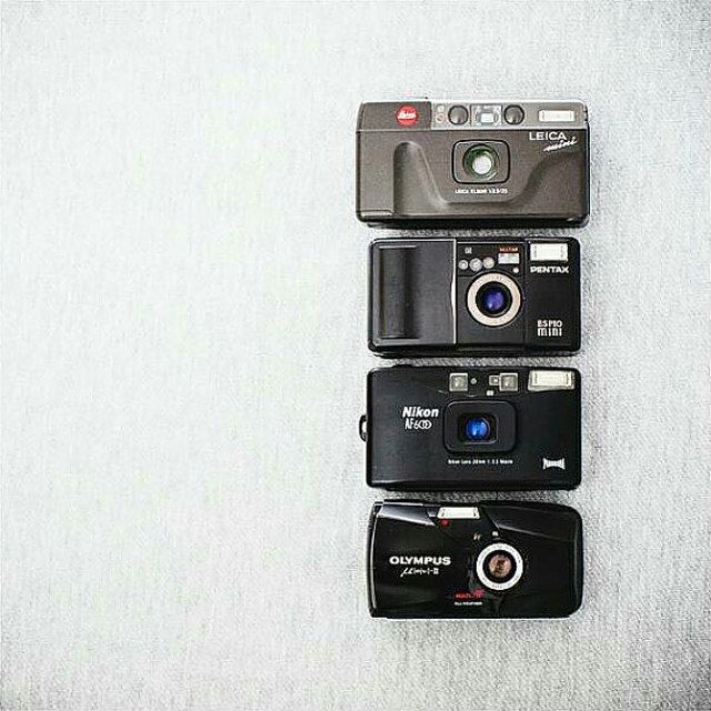 Olympus mju II, Nikon Lite Touch AF600, Pentax UC Espio mini, Leica Mini - Functional Vintage Cameras with Folk Patterned by FolkCamera