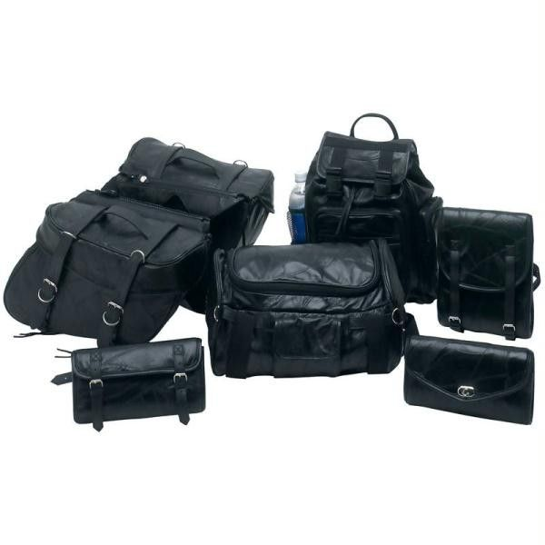 Diamond Plate 7pc Rock Design Genuine Buffalo Leather Motorcycle Luggage Set