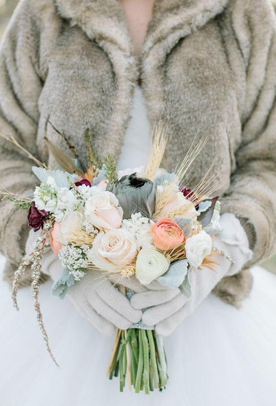 muted and pale mixed winter bouquet | Photo by Haley Sheffield