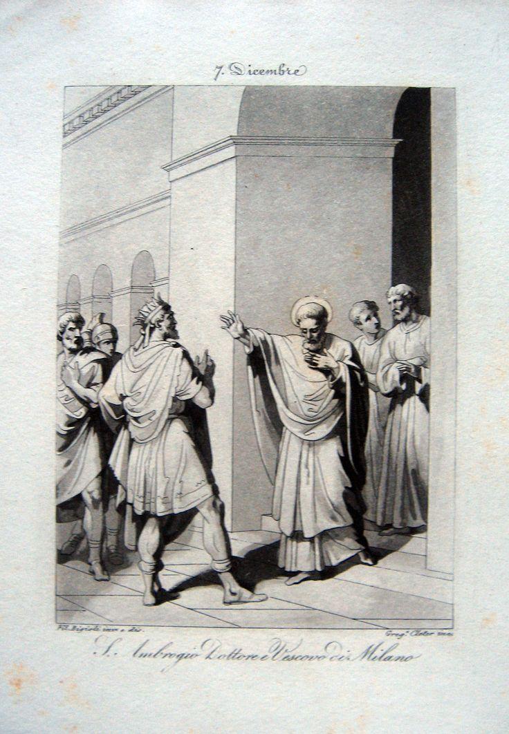 BIGIOLI dis. CLETER inc.  S. Ambrogio Dottore Vescovo di Milano. 1830 ca. Acquatinta seppia, mm.178x130. Finissima scena.