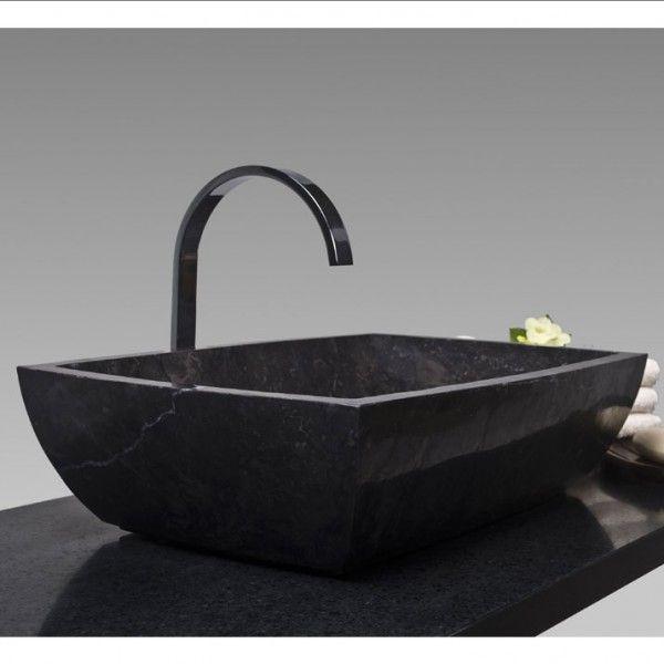 Marmor - Waschbecken MARA rechteckig poliert - schwarz 50x35cm