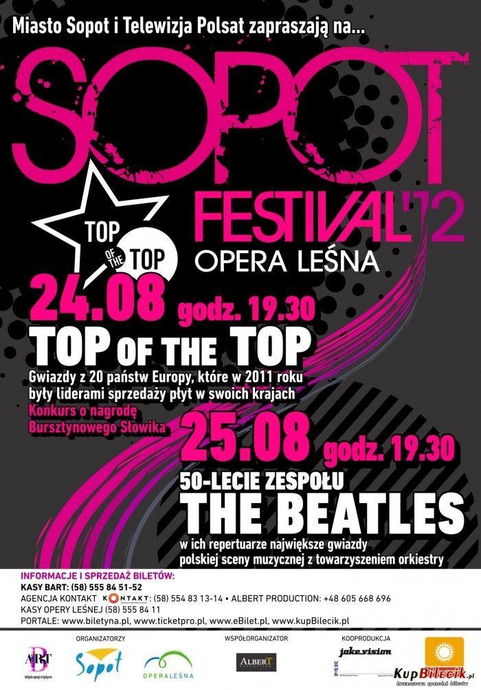 """SOPOT FESTIWAL 2012 - W pierwszym dniu festiwalu wystąpili artyści, którzy w minionym roku znajdowali się na szczytach rankingów ilości sprzedanych płyt, a są to m.in  Drugiego dnia festiwalu wspominaliśmy zespół The Beatles, gdzie w towarzystwie orkiestry symfonicznej wystąpiły gwiazdy polskiej sceny muzycznej, czyli: De Mono, Ryszard Rynkowski, Afromental, Perfect, Łukasz Zagrobelny, Żuki, KOMBII, Lemon, Bracia, Wyszkoni, Loka, Mrozu, Honorata Skarbek """"Honey"""", Jula, Liber & InoRos, MIRAMI."""