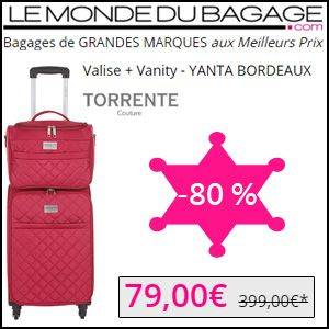 #missbonreduction; Remise de 80 % sur la Valise + Vanity - YANTA BORDEAUX TORRENTE Couture chez Le Monde du Bagage. http://www.miss-bon-reduction.fr//details-bon-reduction-Le-Monde-du-Bagage-i855311-c1828716.html
