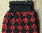 Red and black entrelac bag