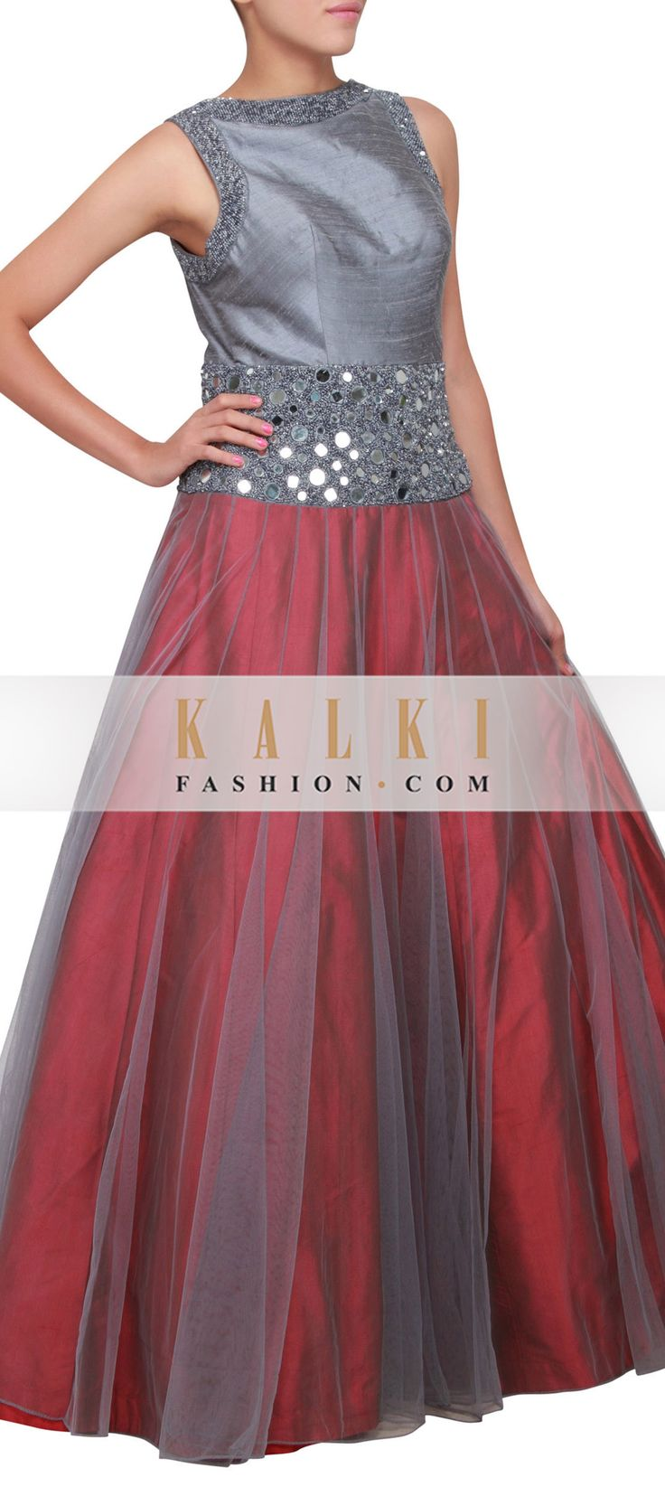 Buy Online from the link below. We ship worldwide (Free Shipping over US$100) http://www.kalkifashion.com/grey-and-maroon-gown-embellished-in-mirror-and-sequence-only-on-kalki.html