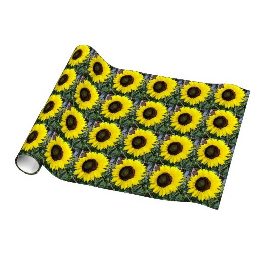 Imagine sunflower lovers receiving their gift package with these beautiful Large gold sunflower gift wrapping paper