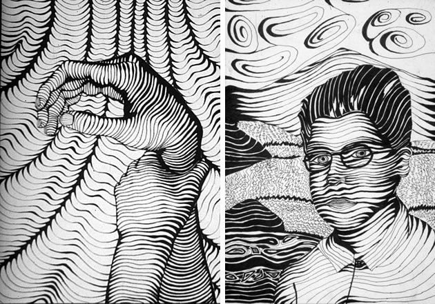 These cross contour drawings were completed as part of Breadth assignments for AP Studio Art. These drawings show clever use of line thickness, with the line-weight varying in order to create the illusion of tone and show three-dimensional form.