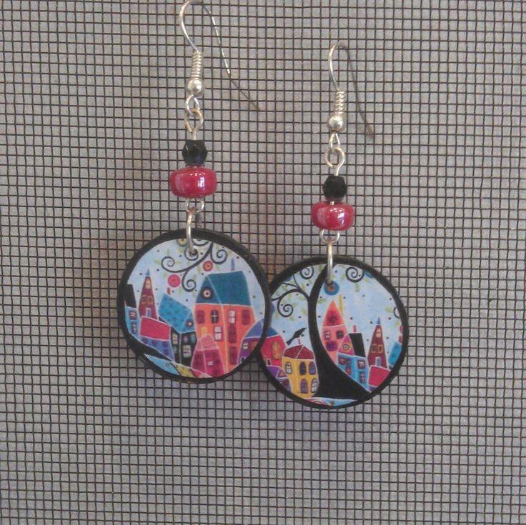 Decoupage Folk Art Little Circle Earrings by GreyShackStudio on Etsy