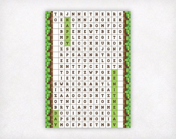 Wordsearch Minecraft Valentines Day Cards Boys by SweetPeonyPress
