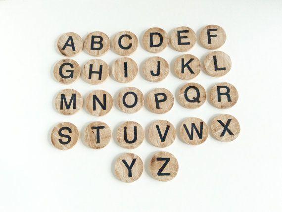 Wooden Alphabet Letters  Montessori Alphabet Discs  by beigebois