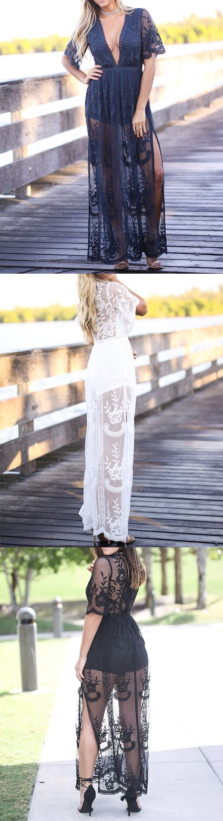 Navy Blue Plunge Thigh Split Sheer Lace Maxi Dress $32.99