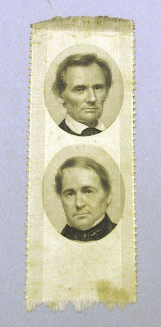 *LINCOLN-HAMLIN CAMPAIGN RIBBON ~ A Republican Party campaign ribbon showing portraits of candidates Abraham Lincoln and Hannibal Hamlin.